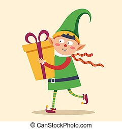 Elf in rush to deliver gift box to child Christmas...