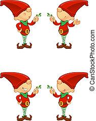 elf, jemioła, -, czerwony, dzierżawa