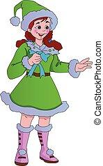 elf, jonge, illustratie, kostuum, groene, dame, kerstmis