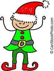 elf kid - happy little boy dressed up as one of santas...