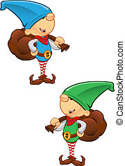 Elf Mascot - Holding A Sack - Two different colored vector...