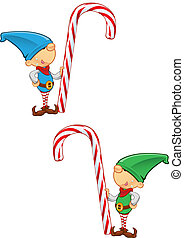 Elf Mascot - Holding Candy Cane - Two different colored...