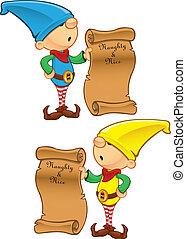 Elf Mascot - Naughty And Nice List