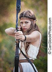 elf mythical girl shooting bow and arrow - elf mythical...