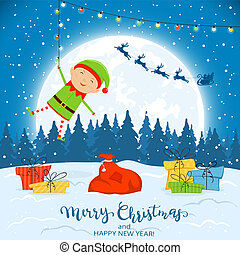 Elf on Winter Background with Gifts and Christmas Lights