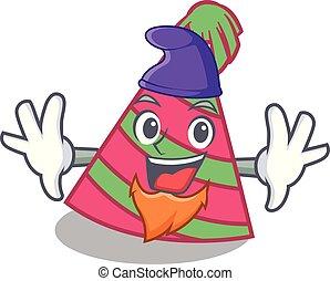Elf party hat character cartoon vector illustration