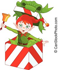 Elf Popping out of a Christmas Box - Illustration of elf...