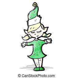elf, rysunek, boże narodzenie