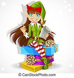 elf Santa assistant - Cute girl the New Years elf Santa's...