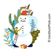 Elf Santa Claus assistant building snowman, character with carrot nose vector. Christmas organization, present with wrapping paper, gift and mistletoe, plant with berries. Helping leprechaun