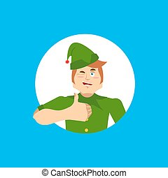 Elf Santa helper thumbs up and winks emoji. New Year and Christmas vector illustration