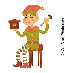 Elf sits on stool and builds toy house - Elf in cone hat...