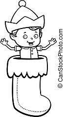 Elf Stocking - A happy cartoon Christmas elf in a stocking.
