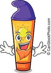 Elf sun cream in the mascot shape vector illustration