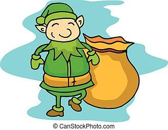 Elf walking with gift bag cartoon