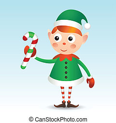 Elf with candy cane - Christmas elf in green coat with candy...