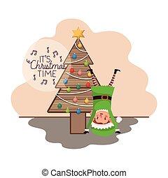 elf with christmas tree on wood