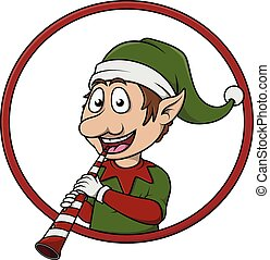 elf with christmas trumpet