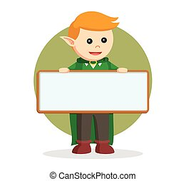 elf with empty board sign
