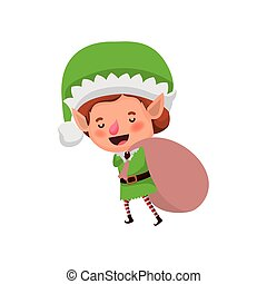 elf with gift bag avatar character