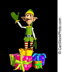 Elf With Presents - Elf waving with some presents by his ...