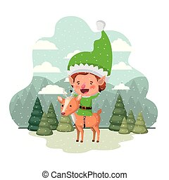 elf with reindeer and christmas trees with falling snow