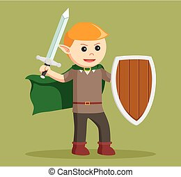 elf with shield and sword
