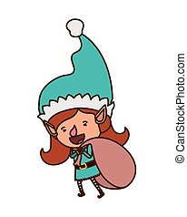 elf woman with gift bag avatar character