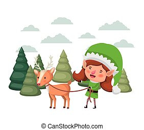 elf woman with reindeer and christmas trees