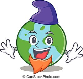 Elf world globe character cartoon