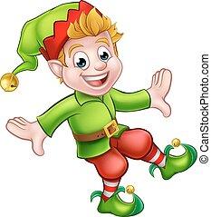 elfe, caractère, noël, dessin animé