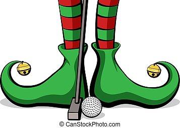 elfe, golf, pieds, noël