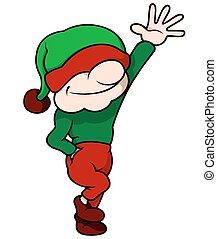 elfe, haut, main