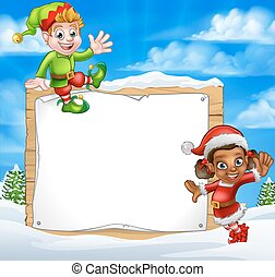 elfe, neige, dessin animé, caractères, signe, noël