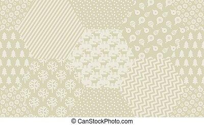 elfenben, färg, mönster, seamless, gräns, jul