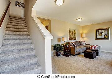 elfenben, lägenhet, rum, trappa, nymodig, två historia