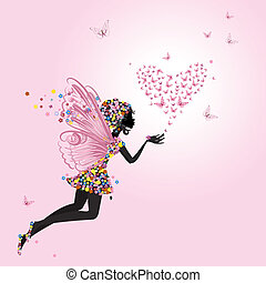 elfje, met, een, valentijn, van, vlinder