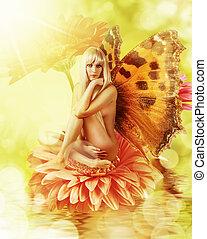 elfje, met, vleugels, op, een, bloem