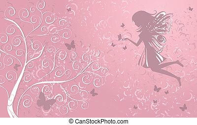 elfje, met, vlinder, dichtbij, een, boompje