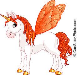 elfje, staart, oranje paard