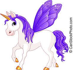 elfje, staart, paarde, viooltje