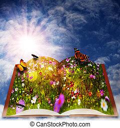 elfje, tale., abstract, fantasie, achtergronden, met, magisch, boek
