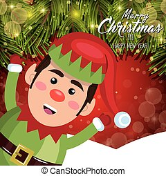 elfo, augurio, neve, allegro, buon natale, scheda