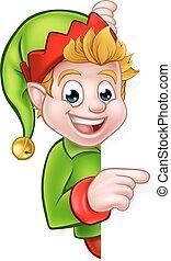 elfo, carattere, natale, indicare, cartone animato