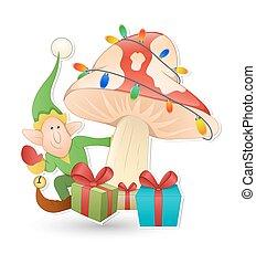 elfo, con, regali natale, vettore