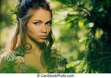 elfo, donna, in, uno, magico, foresta