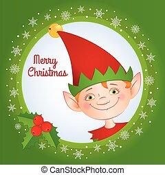 elfo, verde, cartolina auguri, quadrato