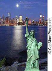 elfog, felett, hudson, york, éjszaka, cityscape, új