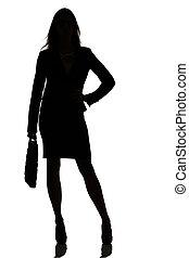 elfoglalt, árnykép, ügy woman, műterem, backlight