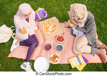 elfoglalt, étkezési, diákok, ital, pizza, kilátás, ivás, tető, szénsavas